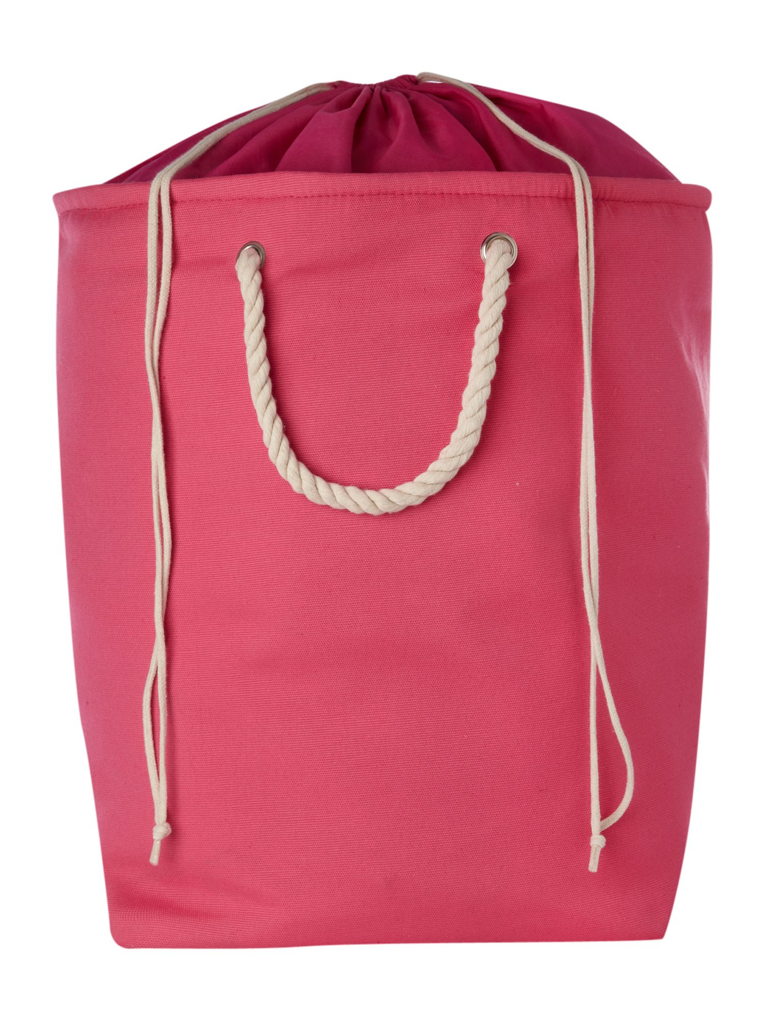 Pink canvas laundry bag