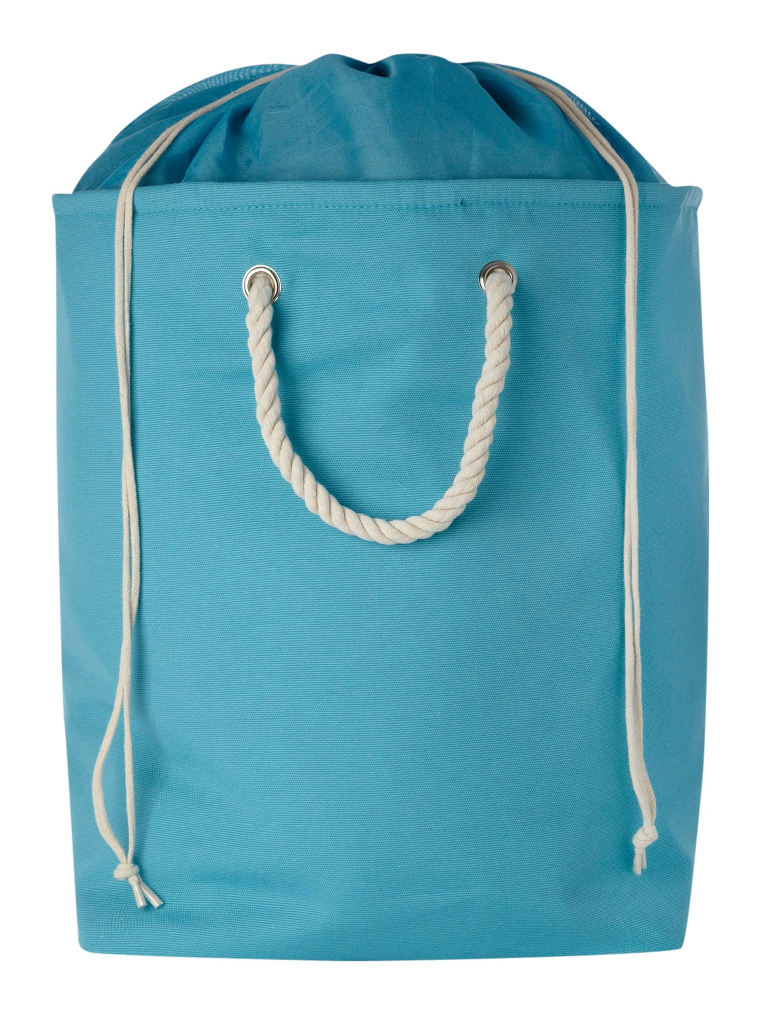 Aqua canvas laundry bag