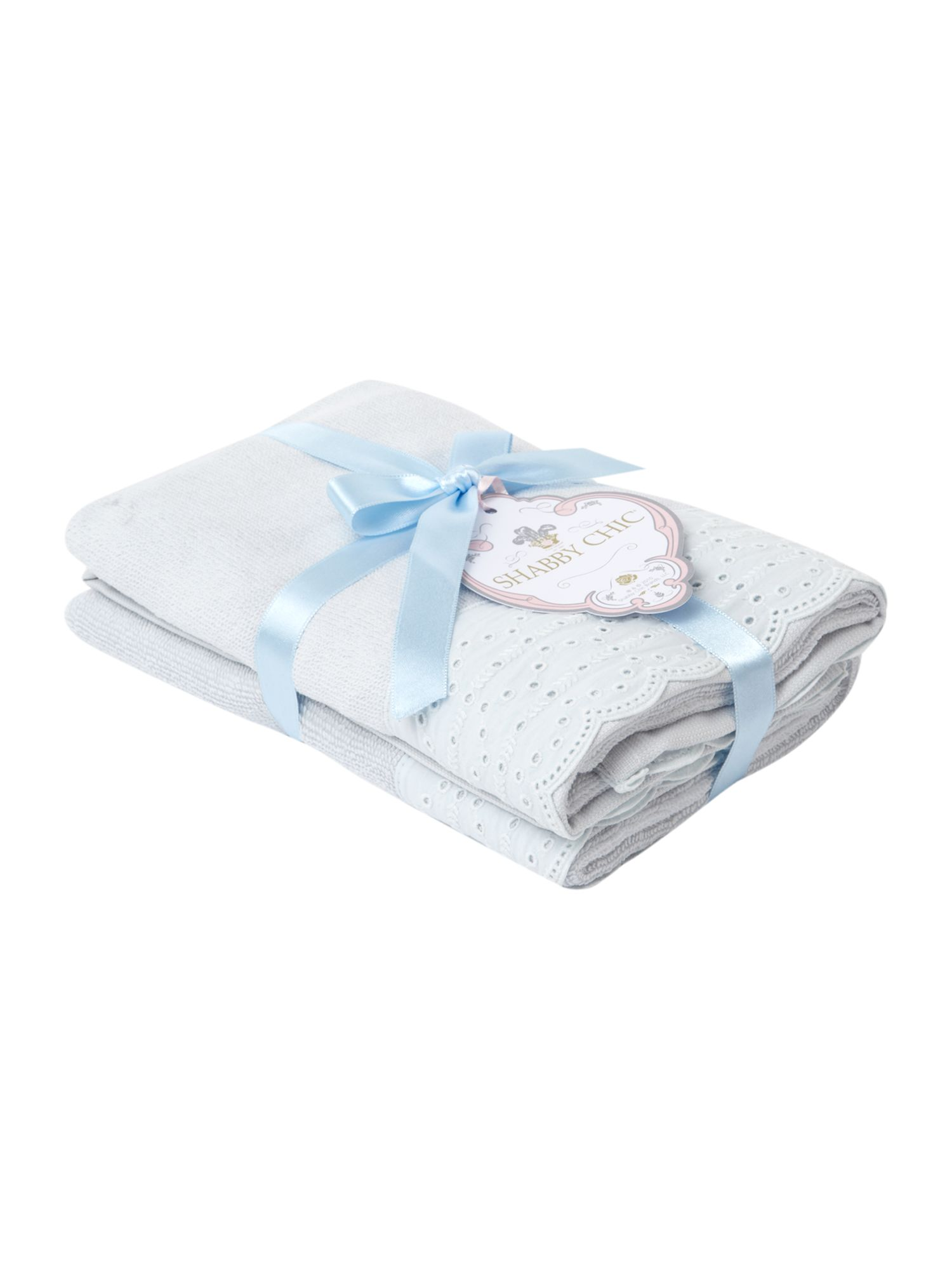 Lace trim guest towel pack of two in duck egg