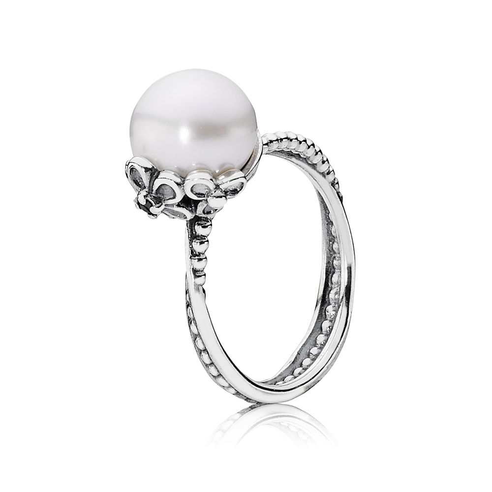 Freshwater Pearl and Cubic Zirconia Ring