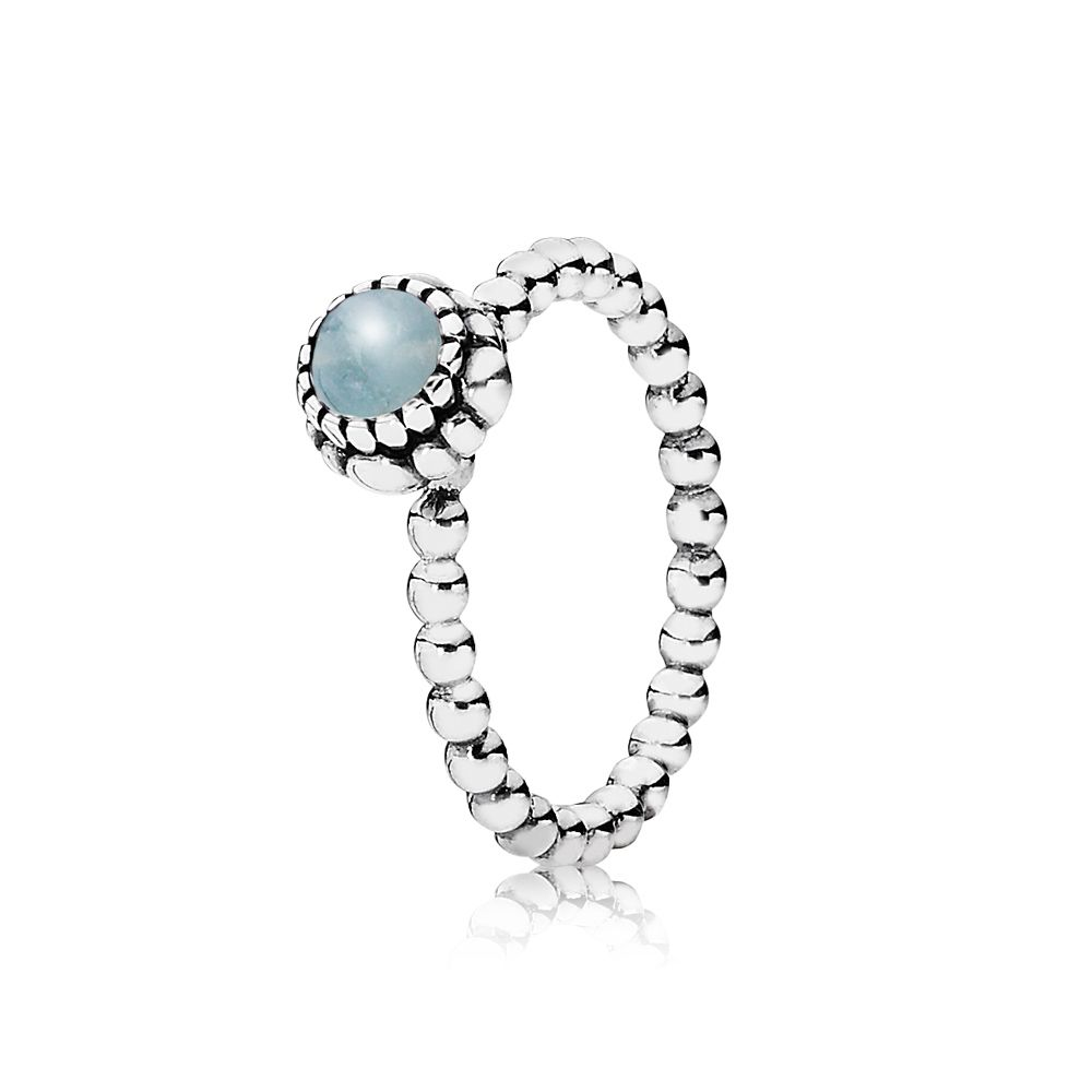 Aquamarine March birthstone ring