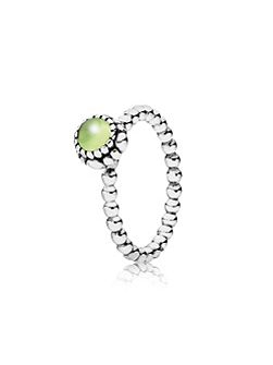 Peridot August silver ring