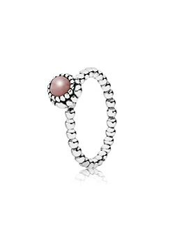 Pink opal October silver ring