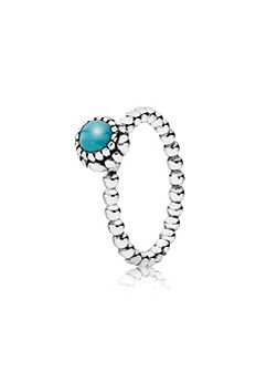 Turquoise December silver ring