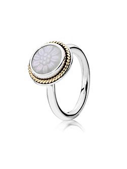 Pandora Mother of Pearl and 14ct Gold Ring