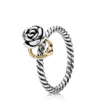 Sterling Silver and 14ct Gold Rose Ring