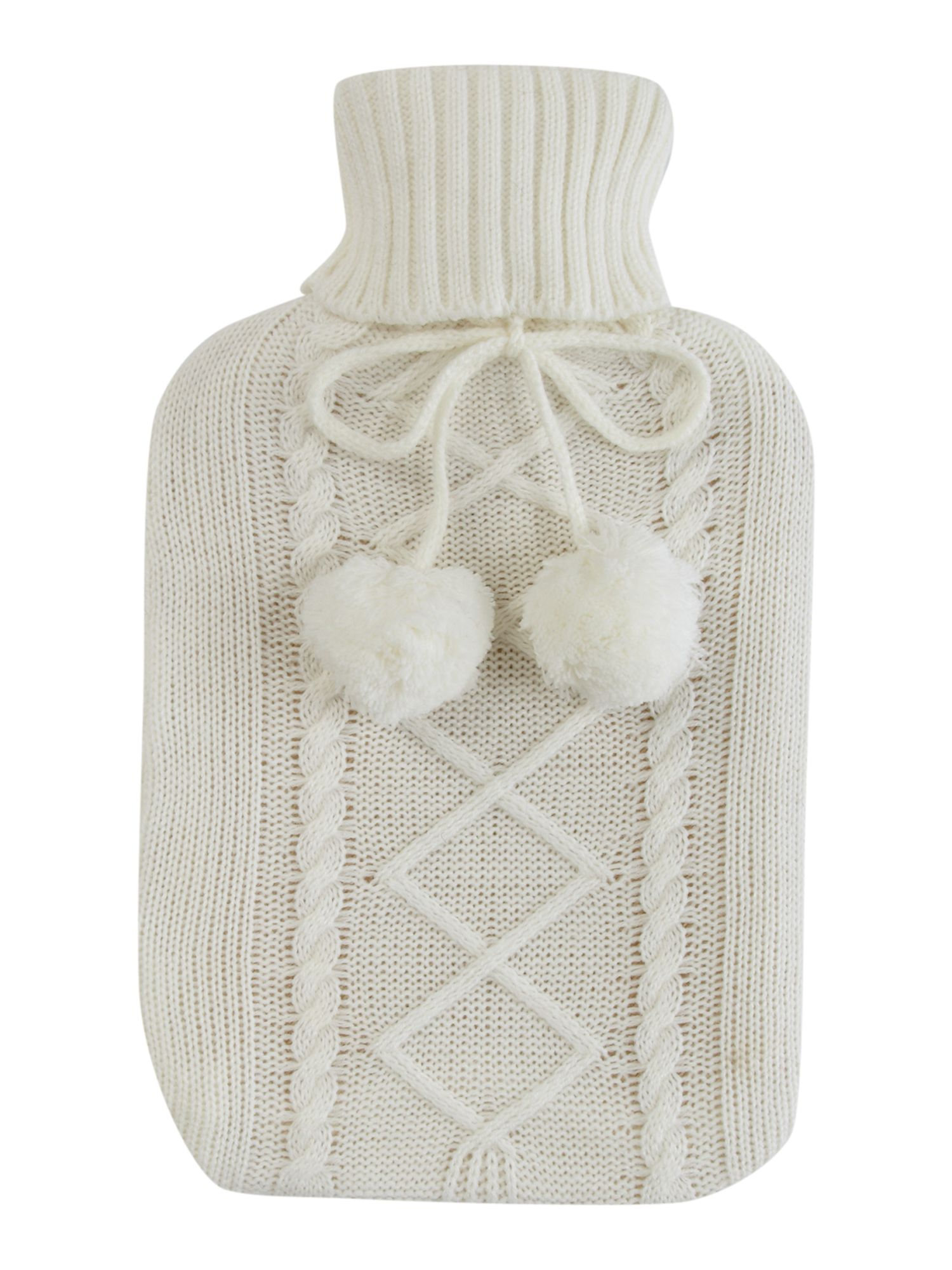 White knitted hot water bottle