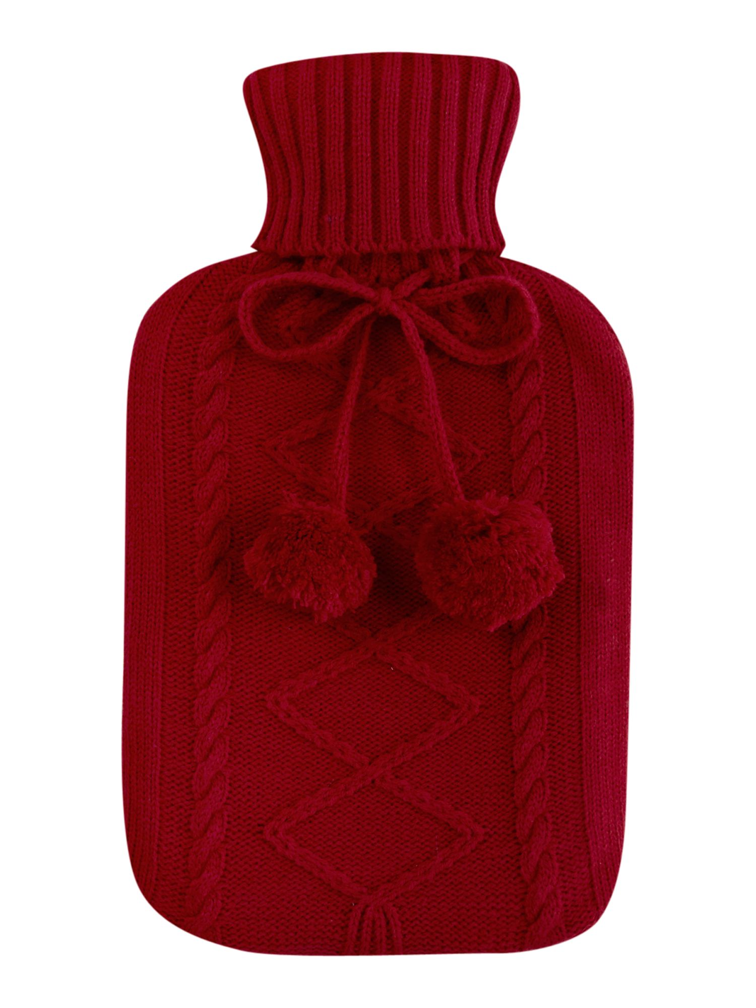 Fuchsia knitted hot water bottle