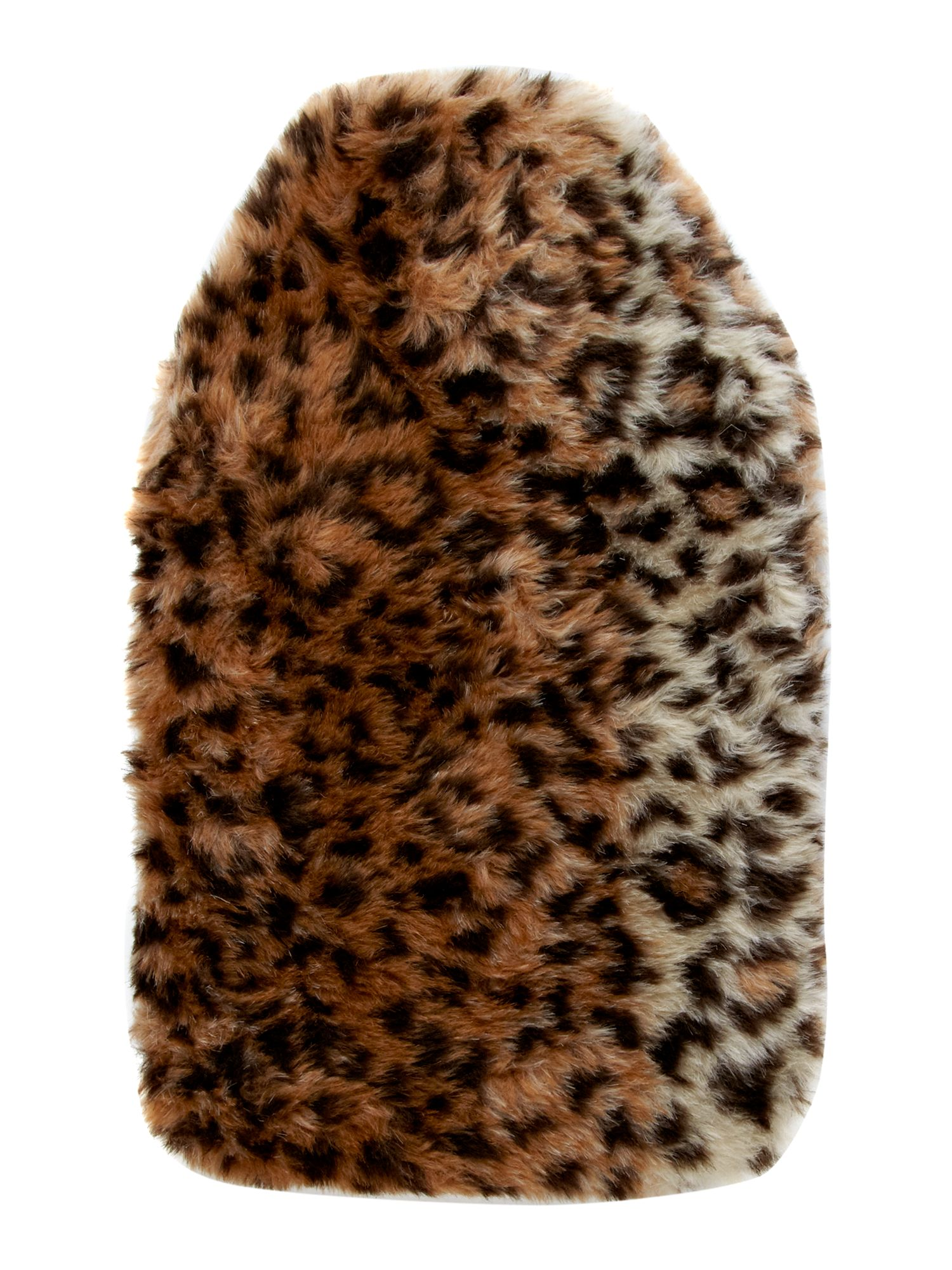 Leopard print faux fur hot water bottle
