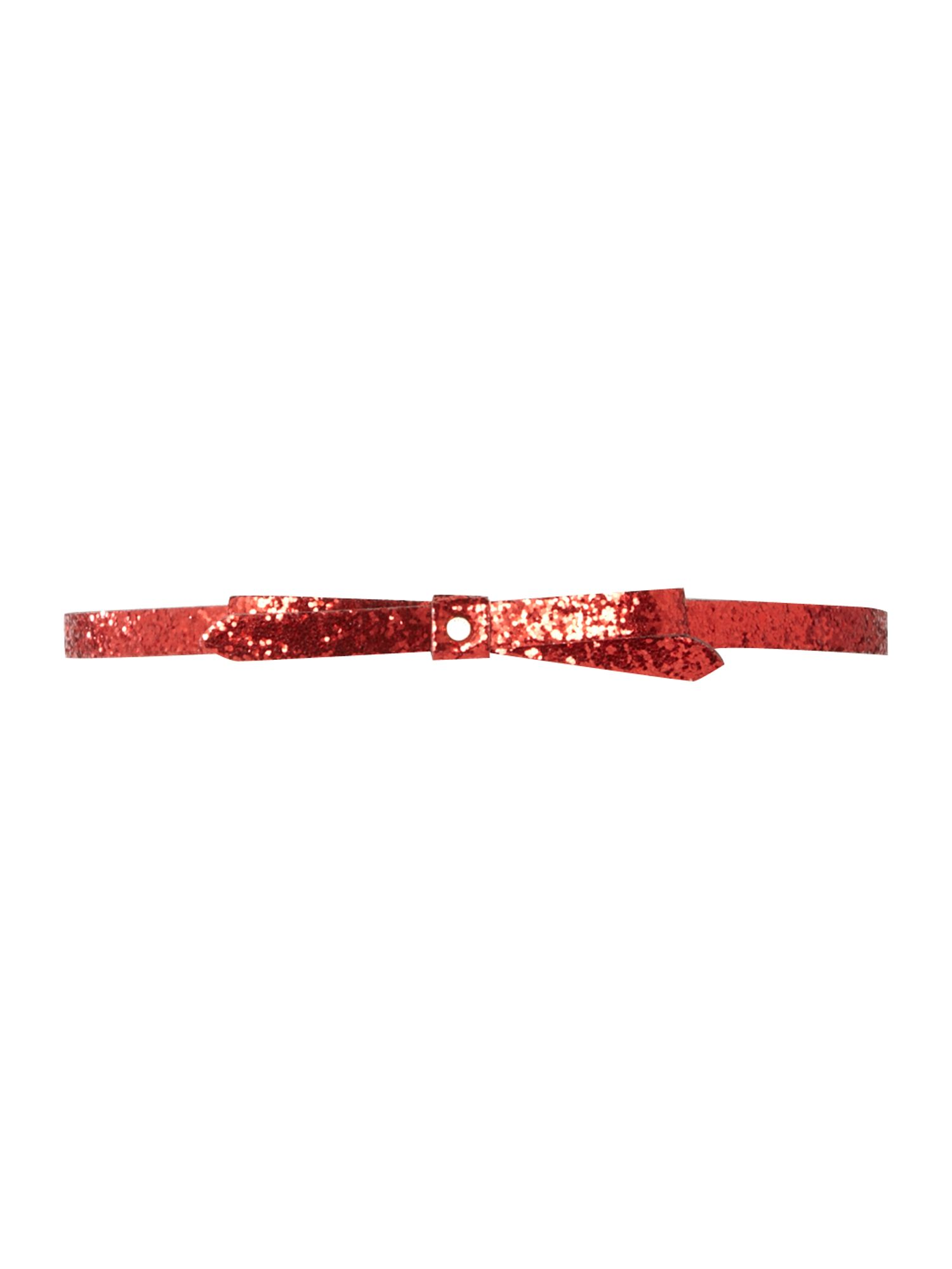 Sparkia red glitter bow skinny belt