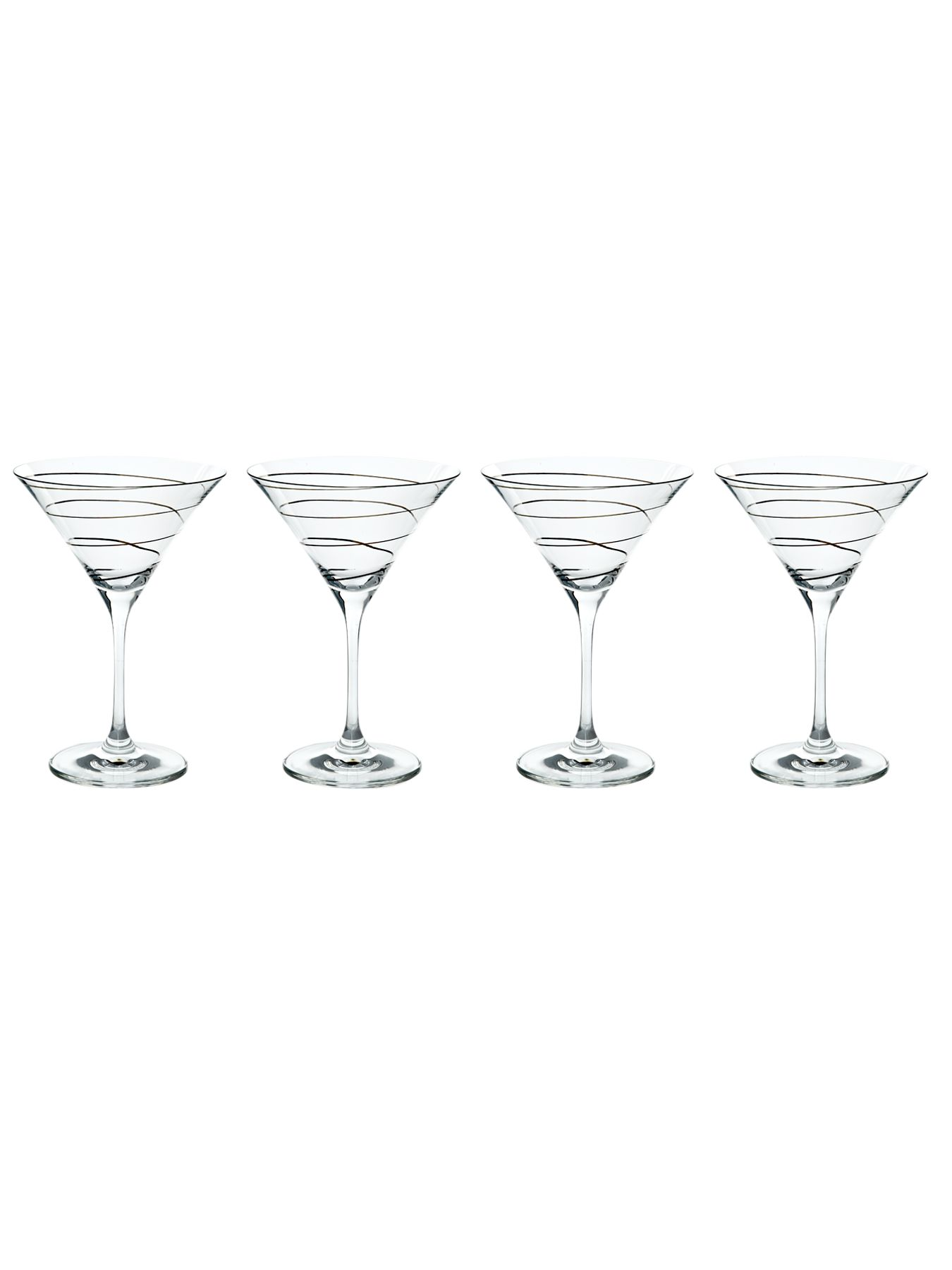 Metallic spiral martini set of 4