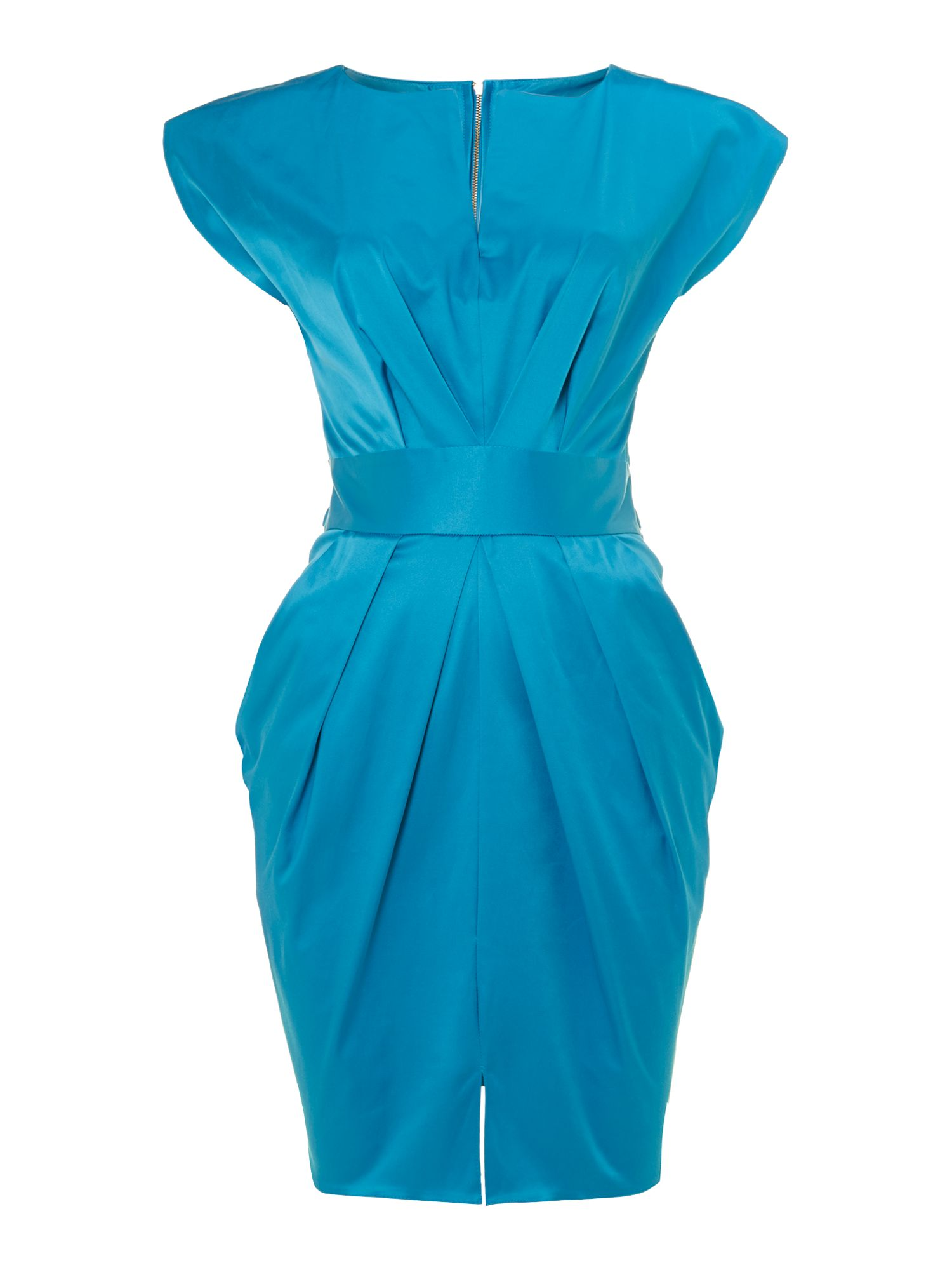 Split neck tie satin dress