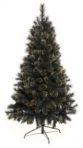 6ft black tree with gold glitter tips