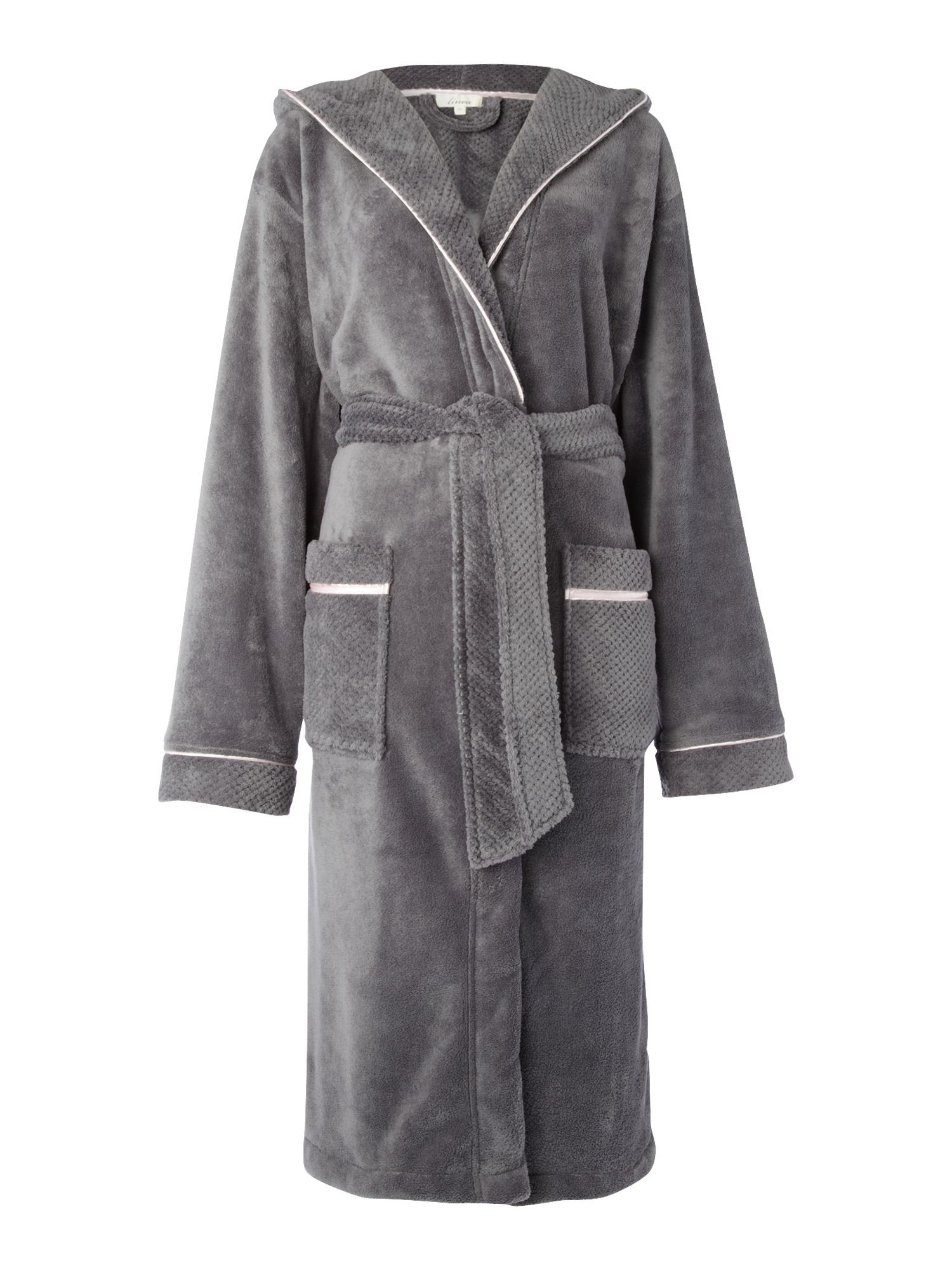Women's Linea Cosy soft robe with hood, Grey