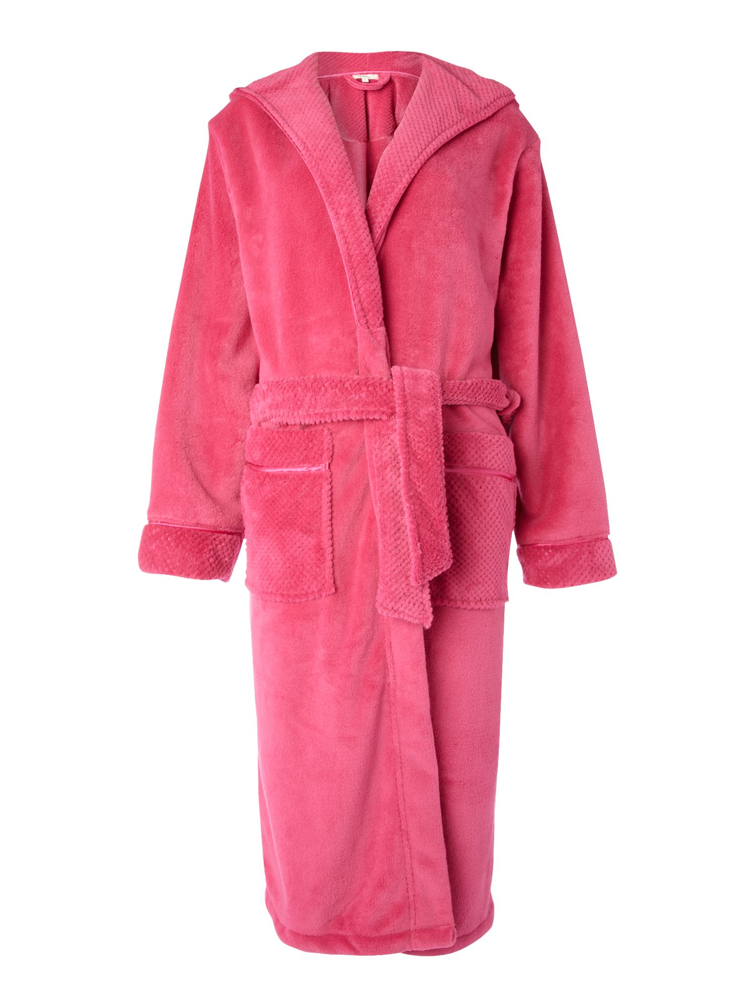 Women's Linea Cosy soft robe with hood, Fuchsia