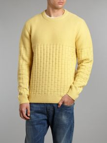 Crew neck jumper with checked knit