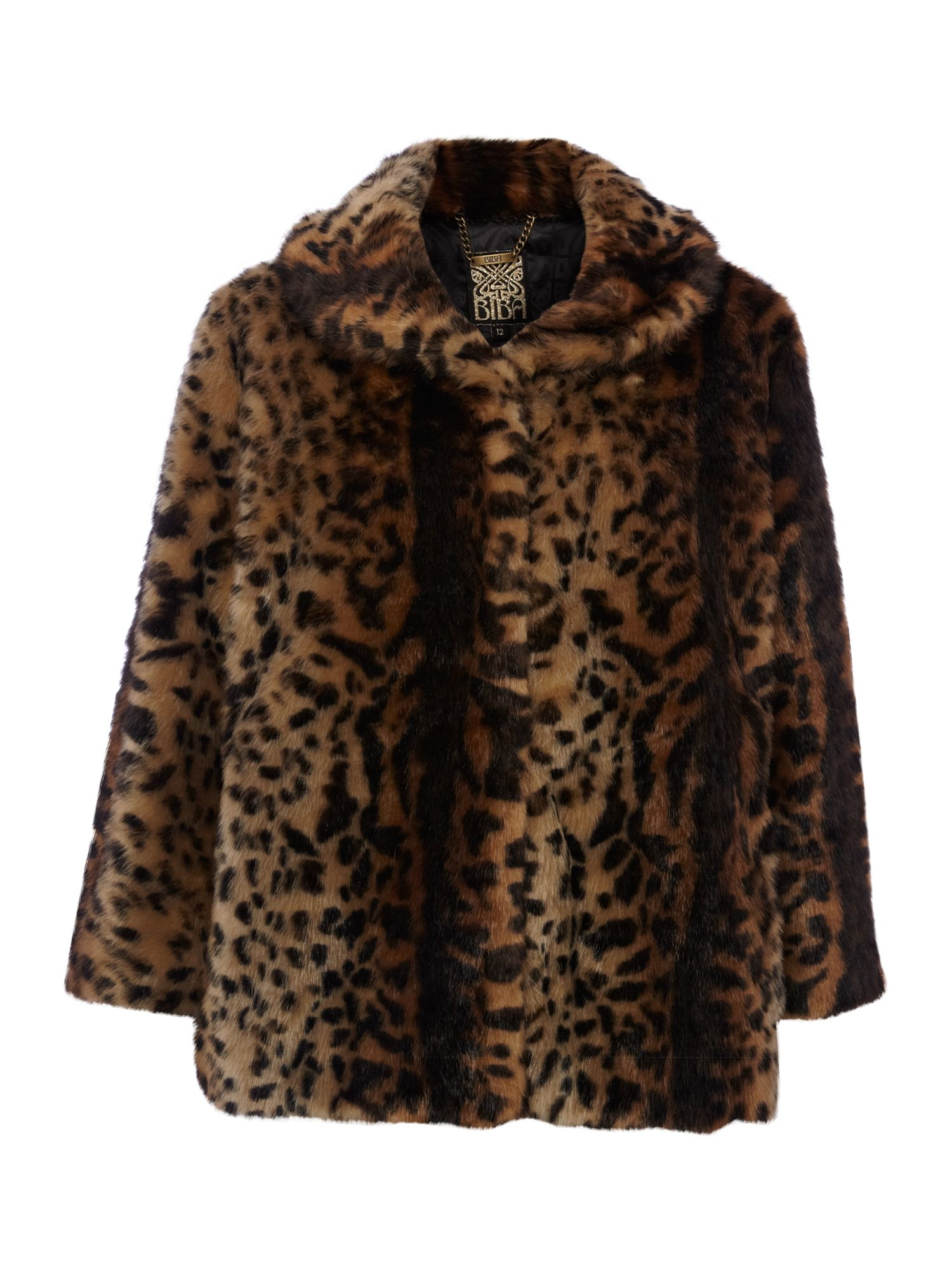 Short tiger printed faux fur coat