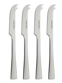 Set of 4 small stainless steel cheese knives