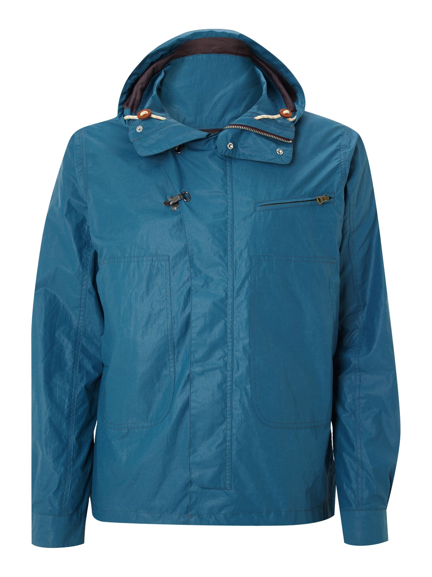 Deck jacket with hood and clip detail fastening
