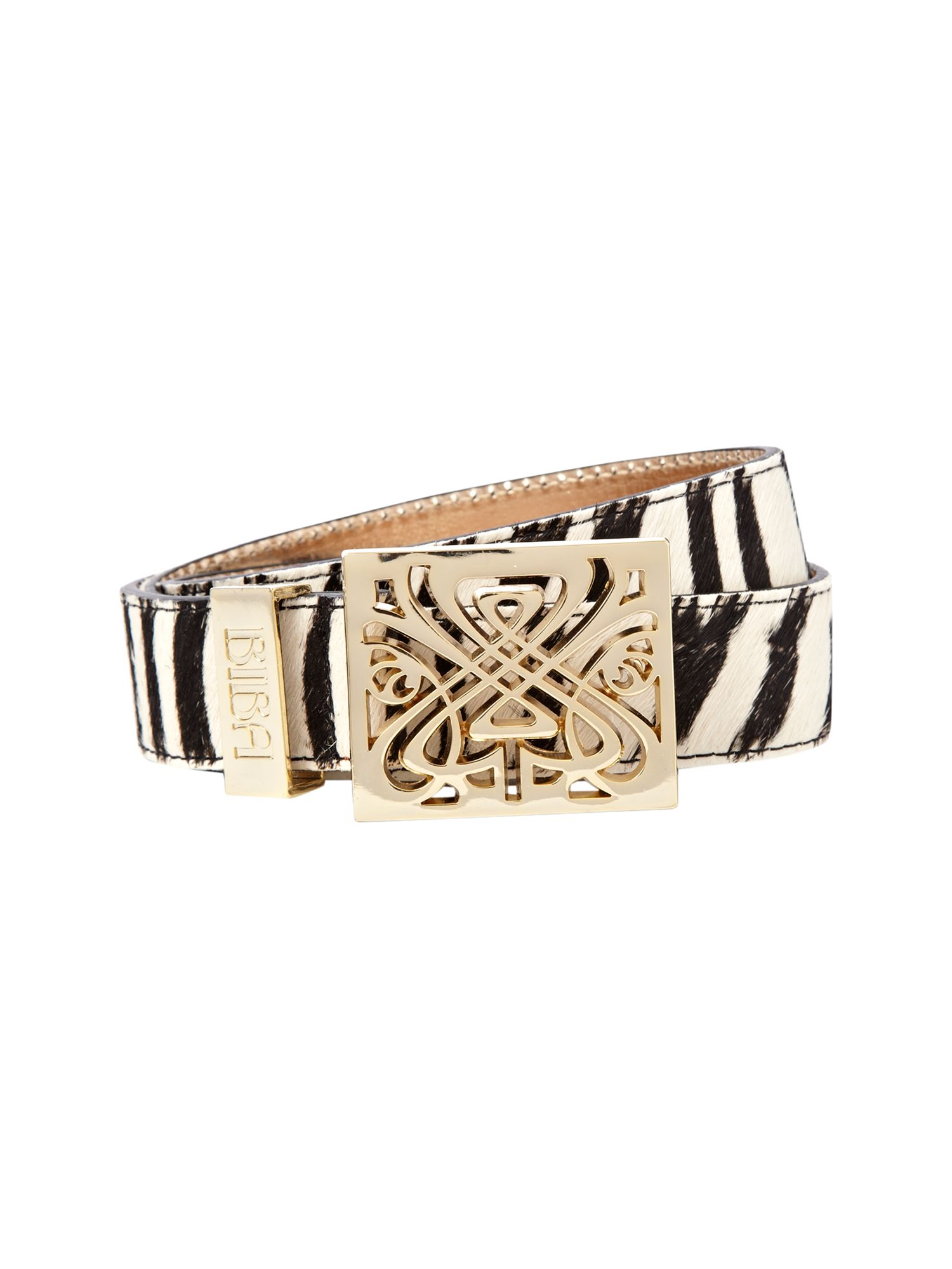 Filagree zebra print belt
