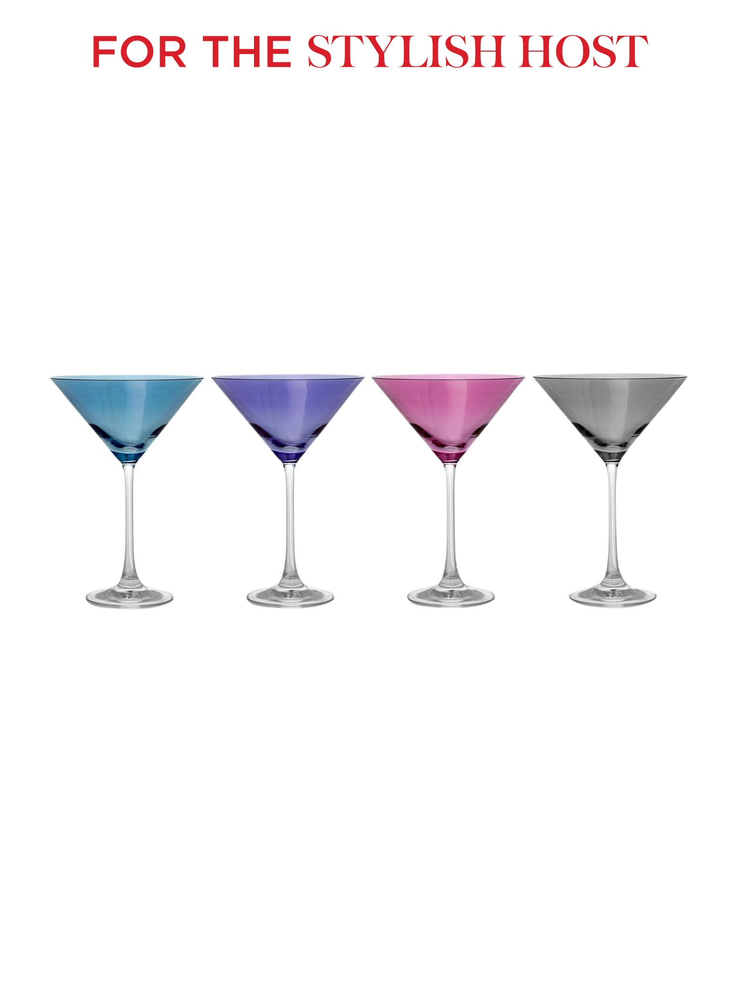 Mixed lustre martini glasses set of 4