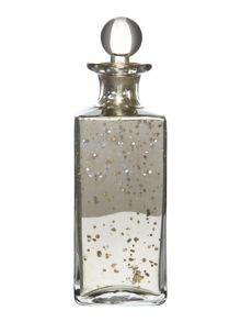 Shabby Chic Large Glass Decanter Bottle in Antique Silver