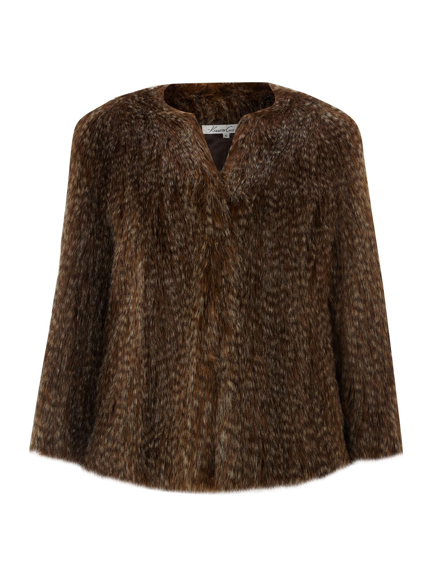 Collarless short fur coat