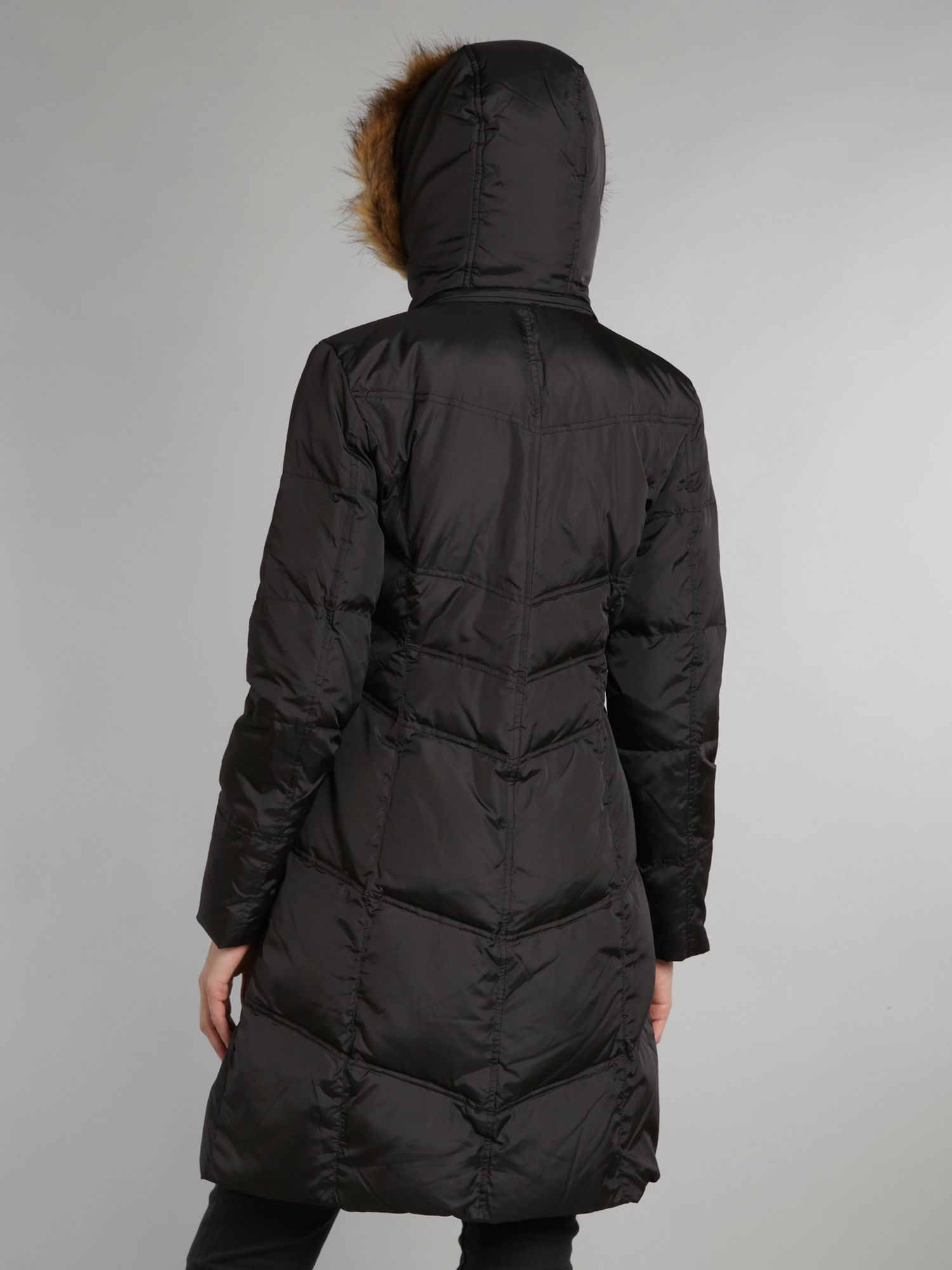 Padded coat with faux fur trim hood