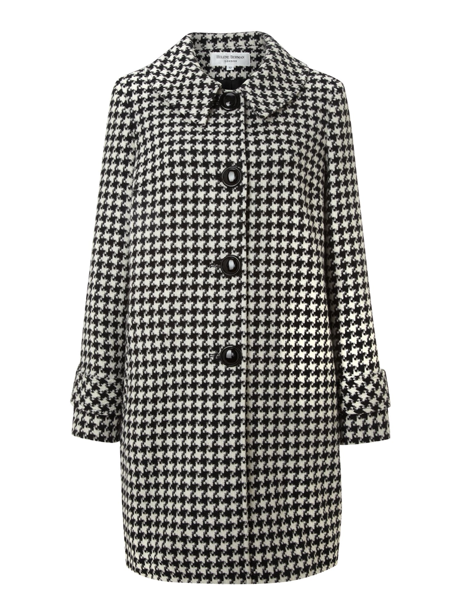 Swing check wool coat