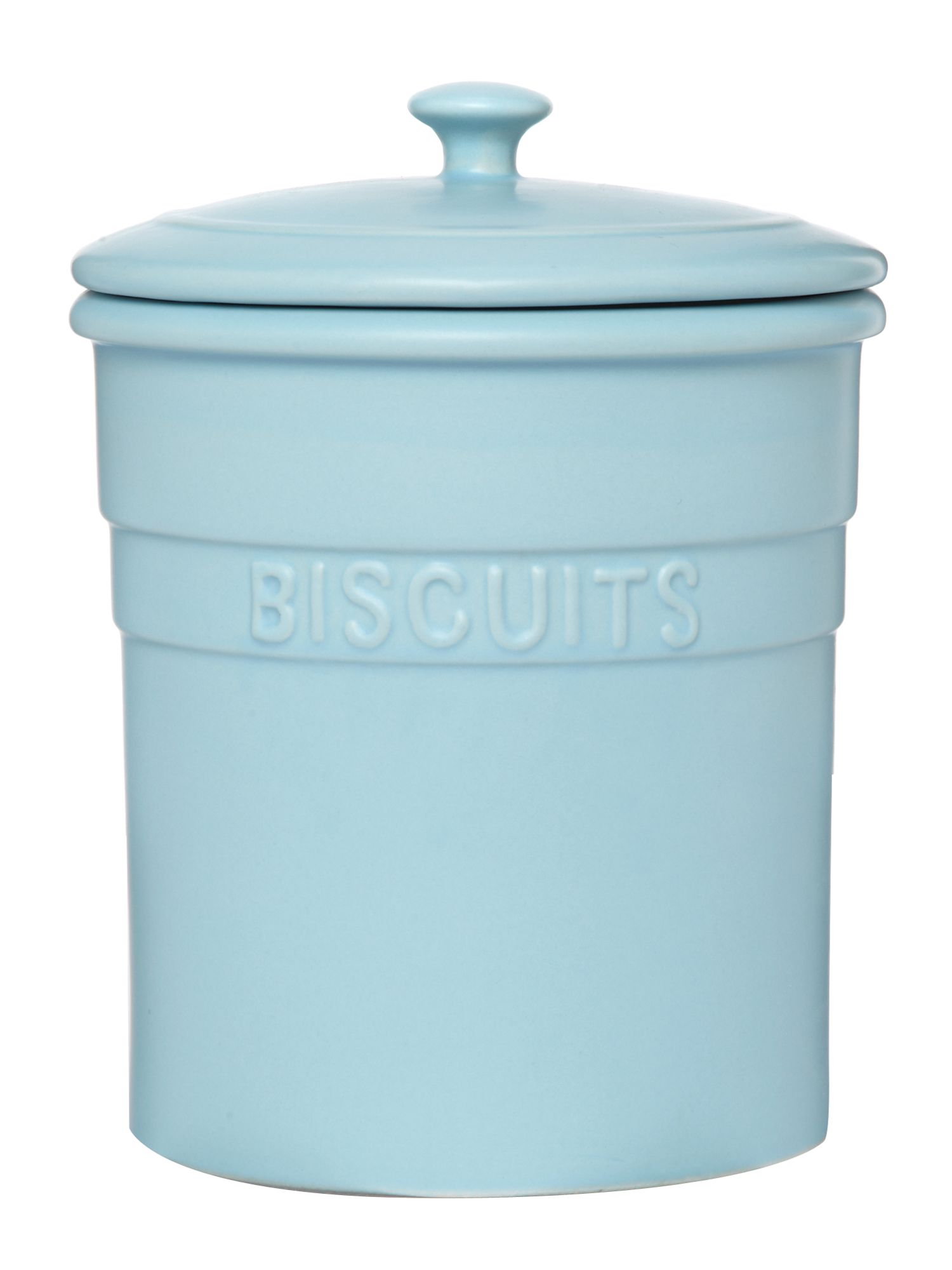 Maison biscuit jar, pale blue