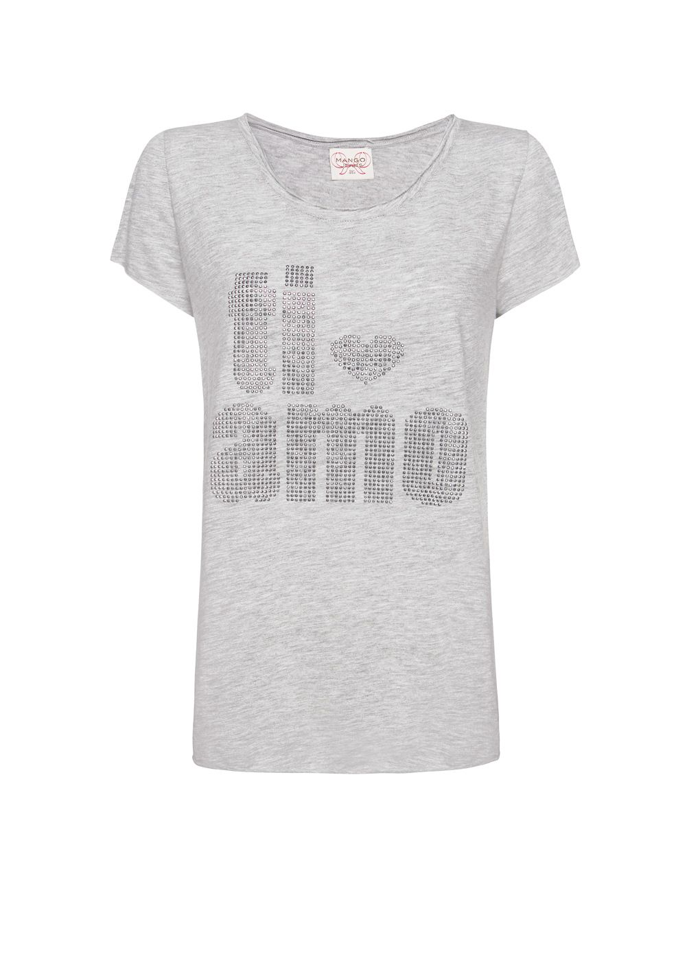 Women's Mango Lose-fit strass t-shirt, Grey