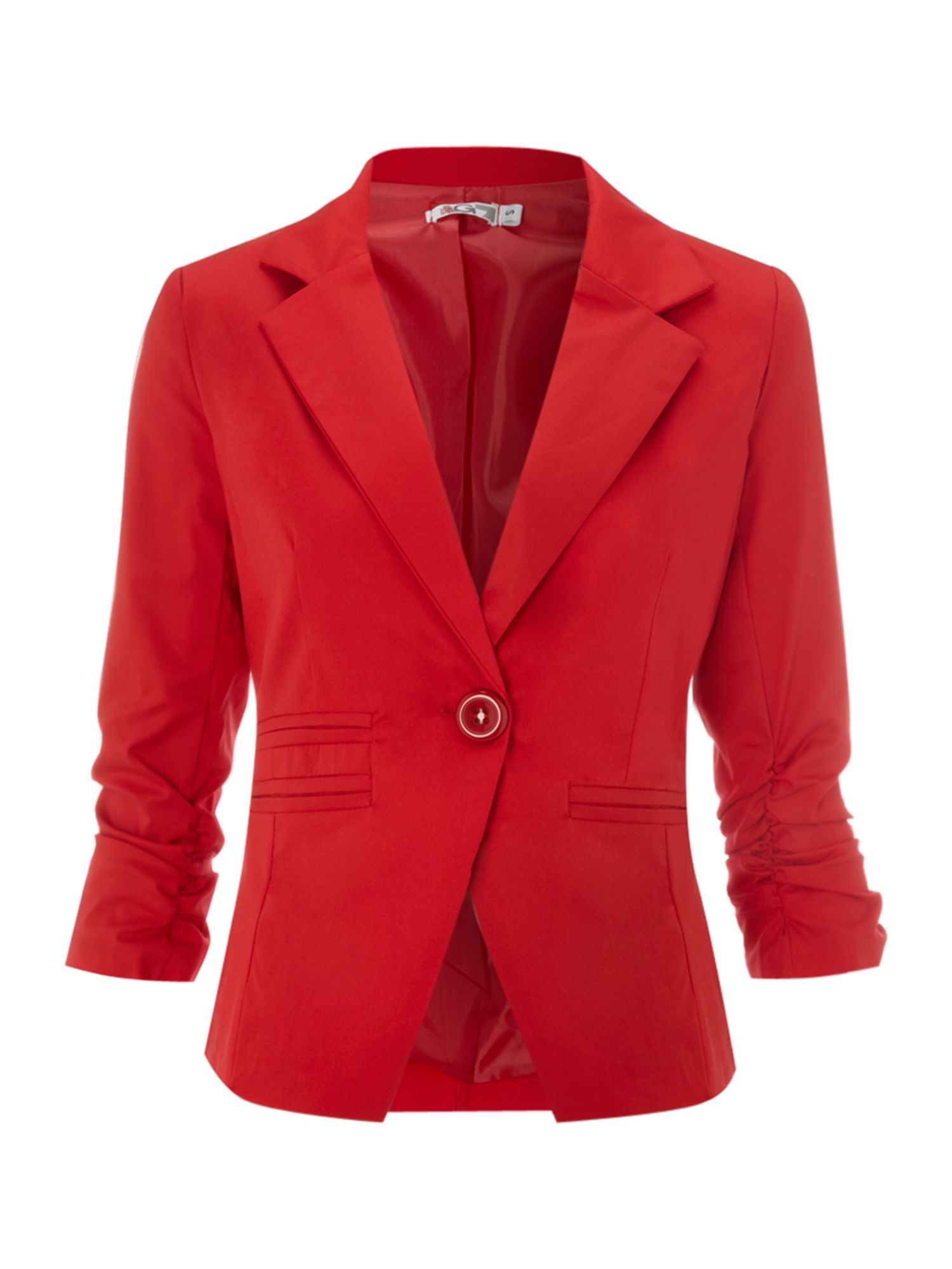 Jacket with 3/4 ruched sleeve