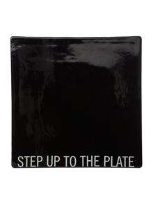 Text step up to the plate cheese tile