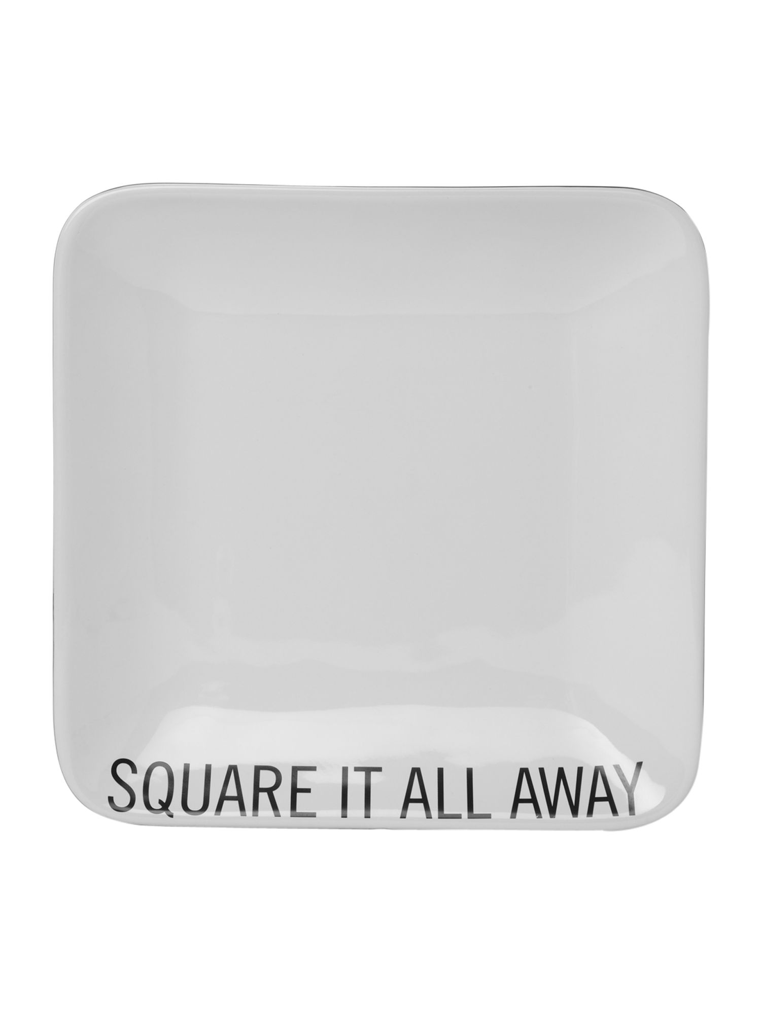 Text square it all away square plate