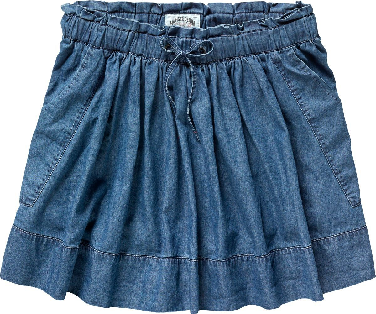 Denim effect mini pleated skirt with tie waiste a