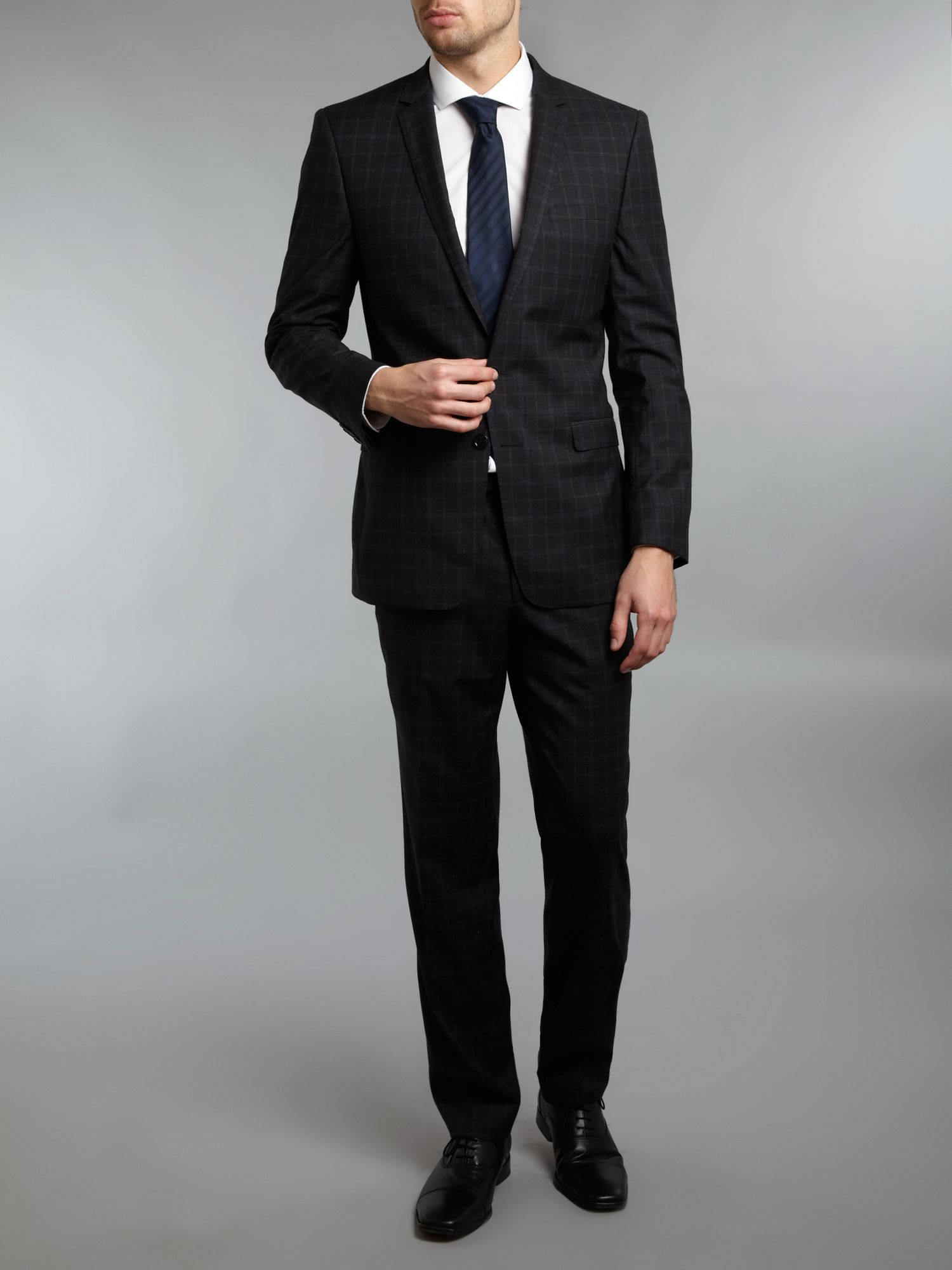Single breasted skinny check formal suit