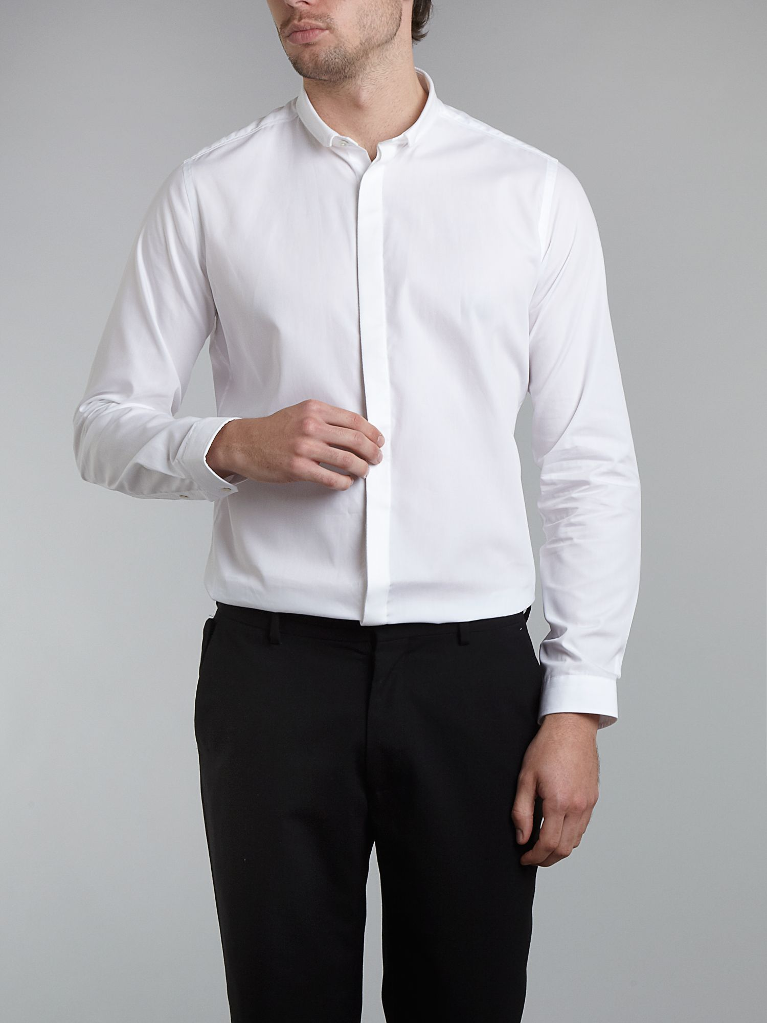 Long-sleeve mixed fabric formal shirt