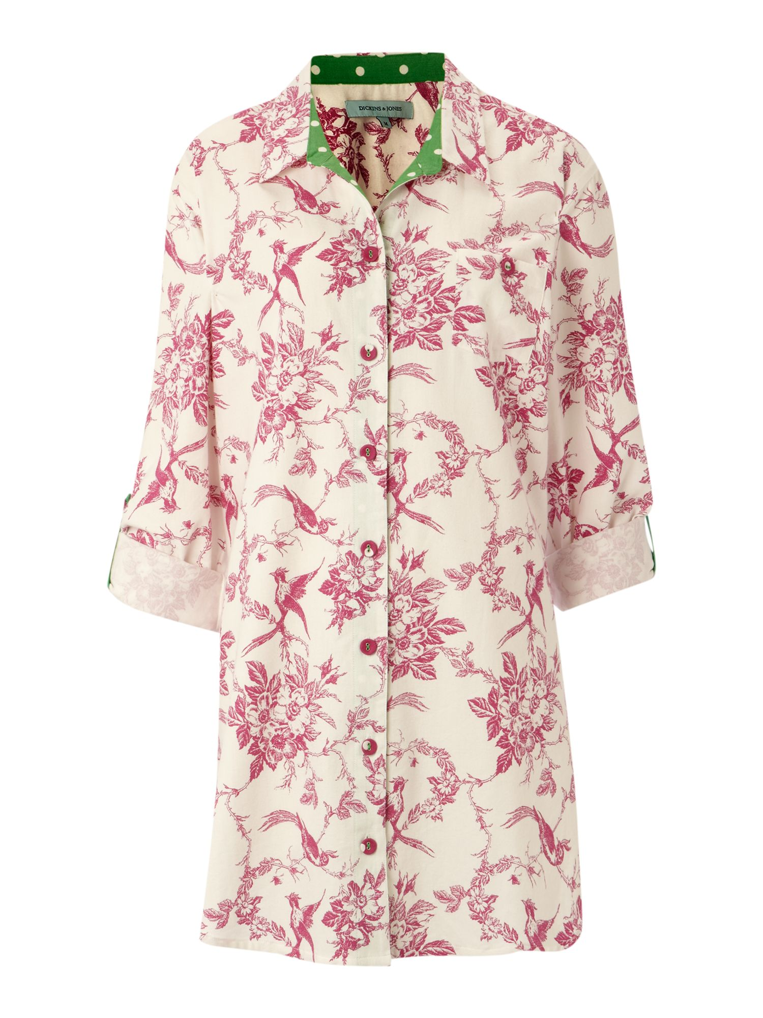 Women's Dickins & Jones Vintage bird print nightshirt, Cream