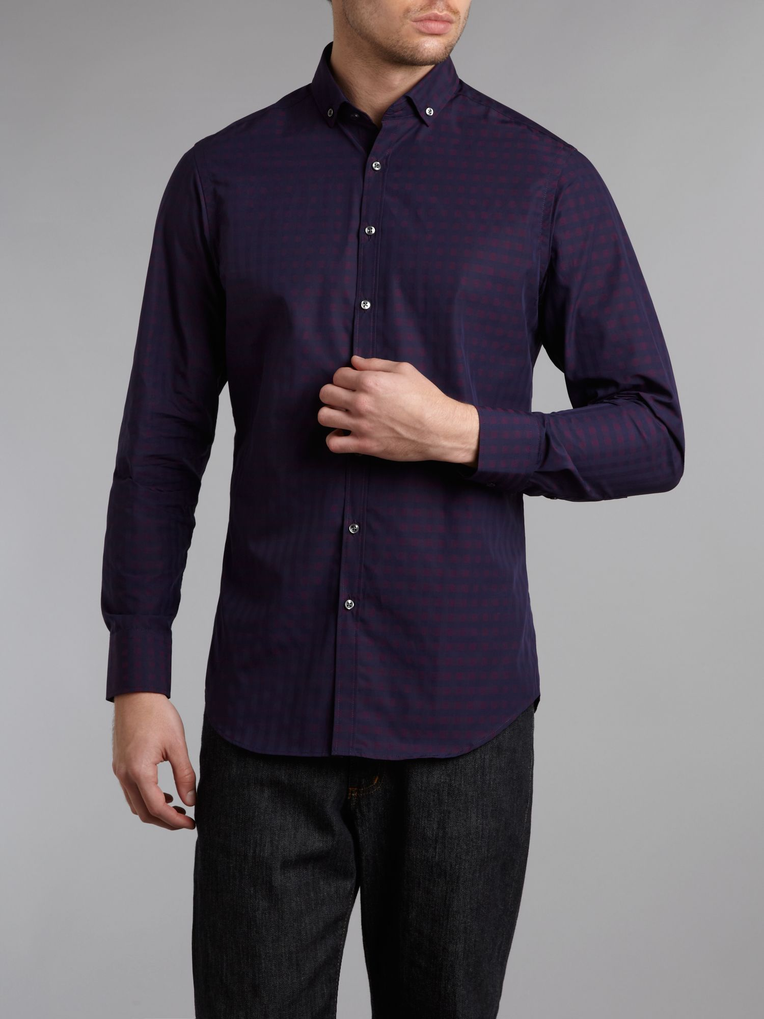 Long-sleeve overcheck formal shirt