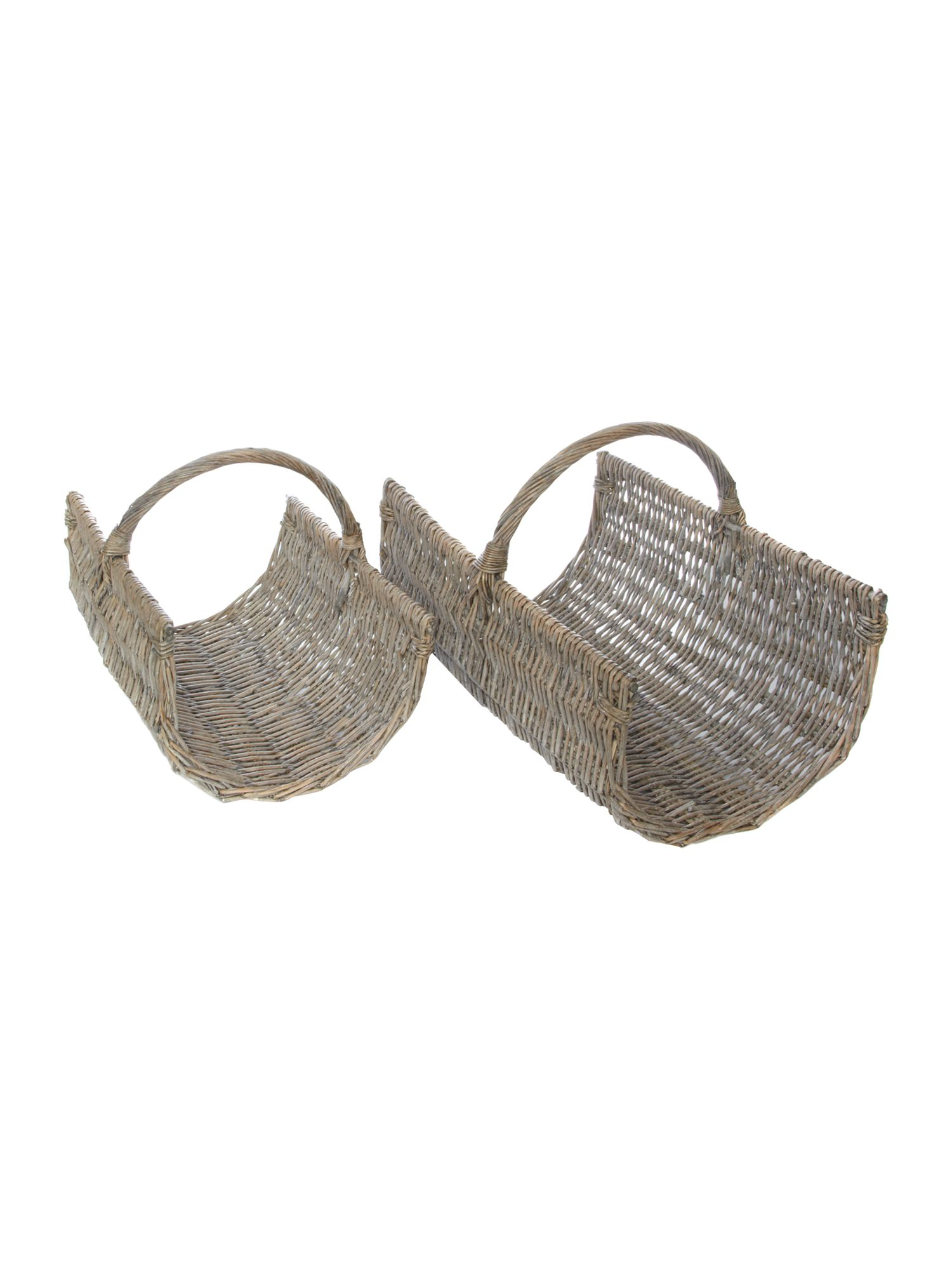 Set of 2 whitewashed open baskets