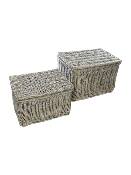 Shabby Chic Set of 2 whitewashed willow lid boxes