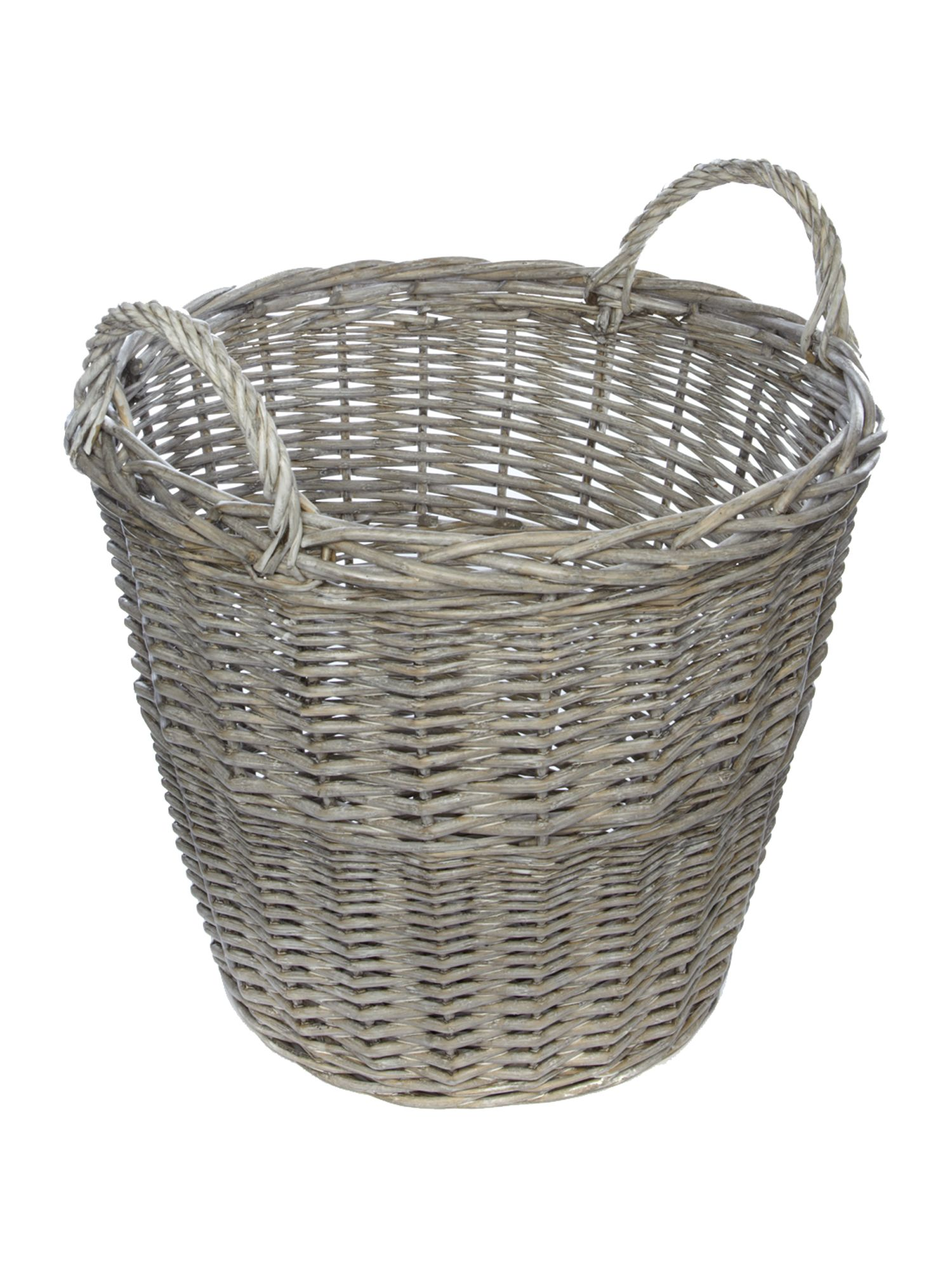 Whitewashed willow basket with handles
