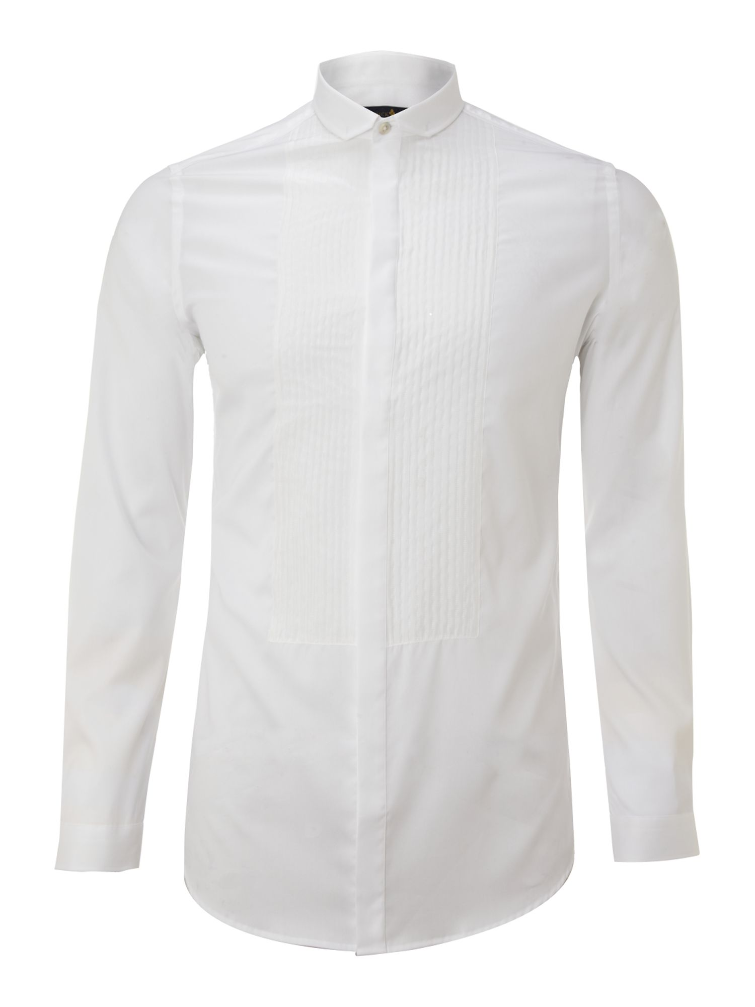 Long-sleeve bib front dinner shirt