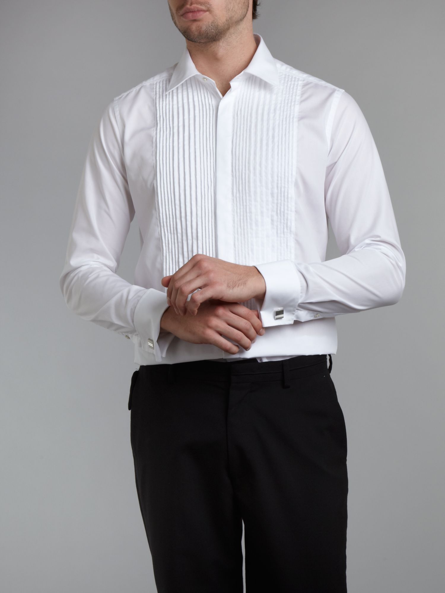 Long-sleeve pleated bib dinner shirt