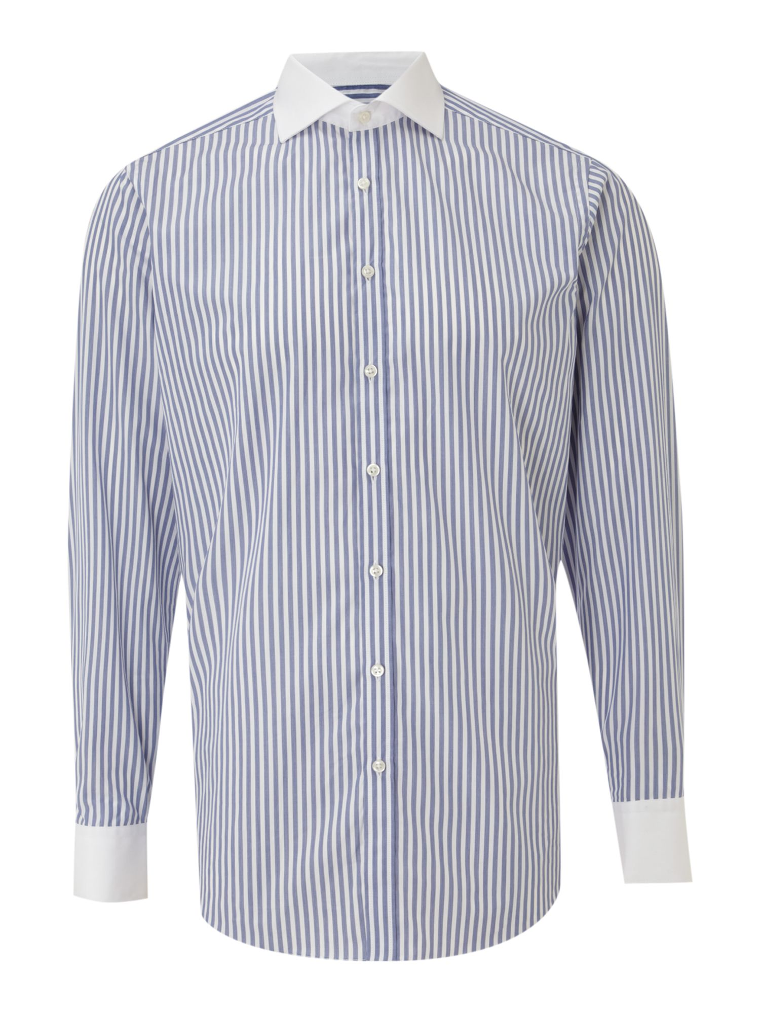 Long-sleeve white collar fade stripe formal shirt