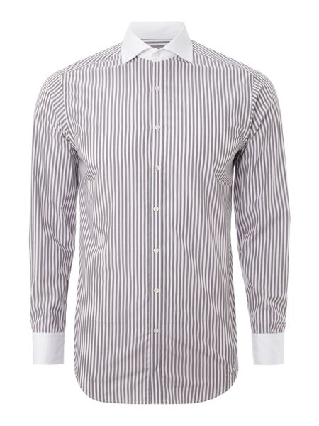 Patrick Cox Long-sleeve white collar fade stripe formal shirt