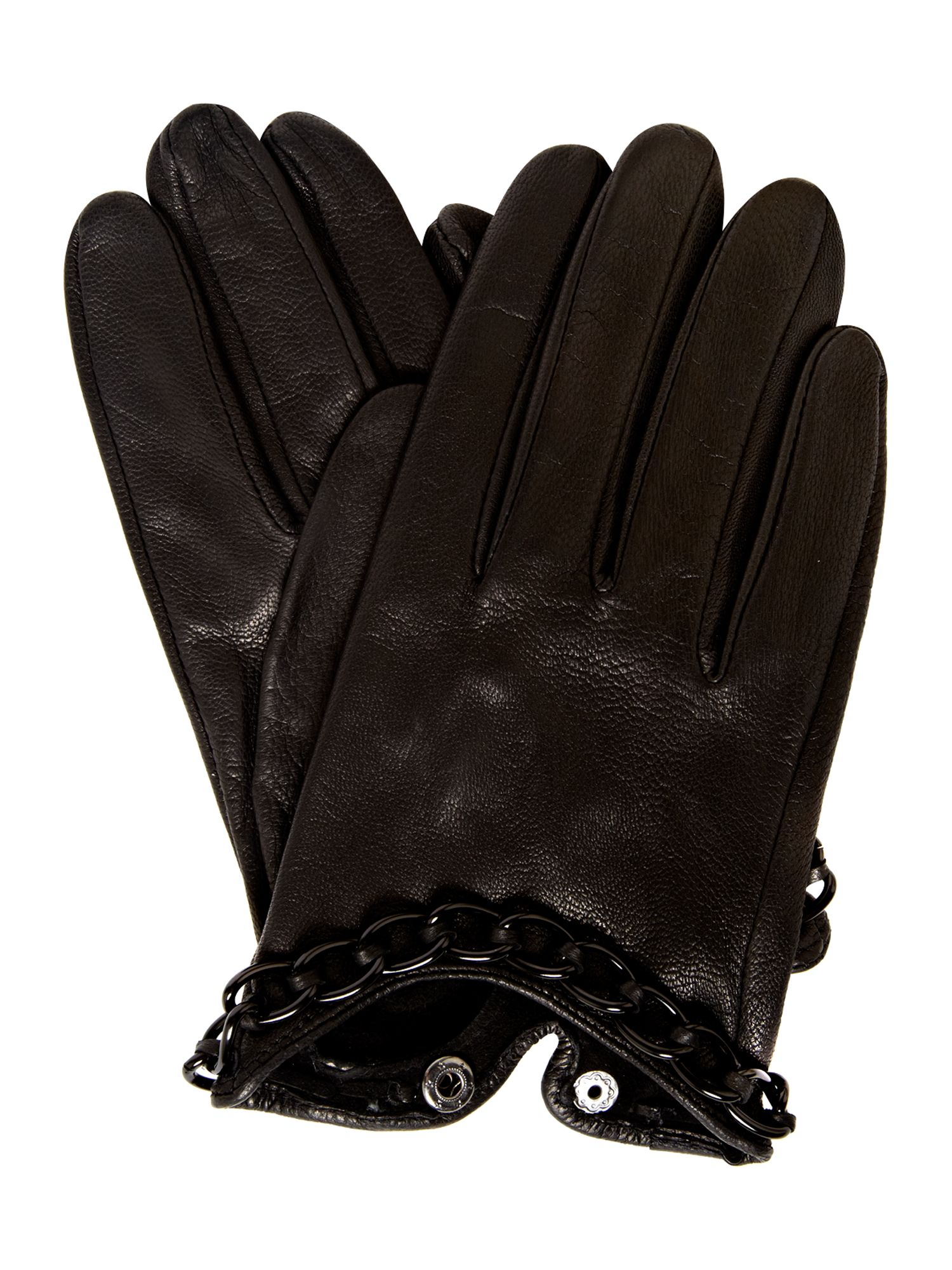 Chain detail leather glove