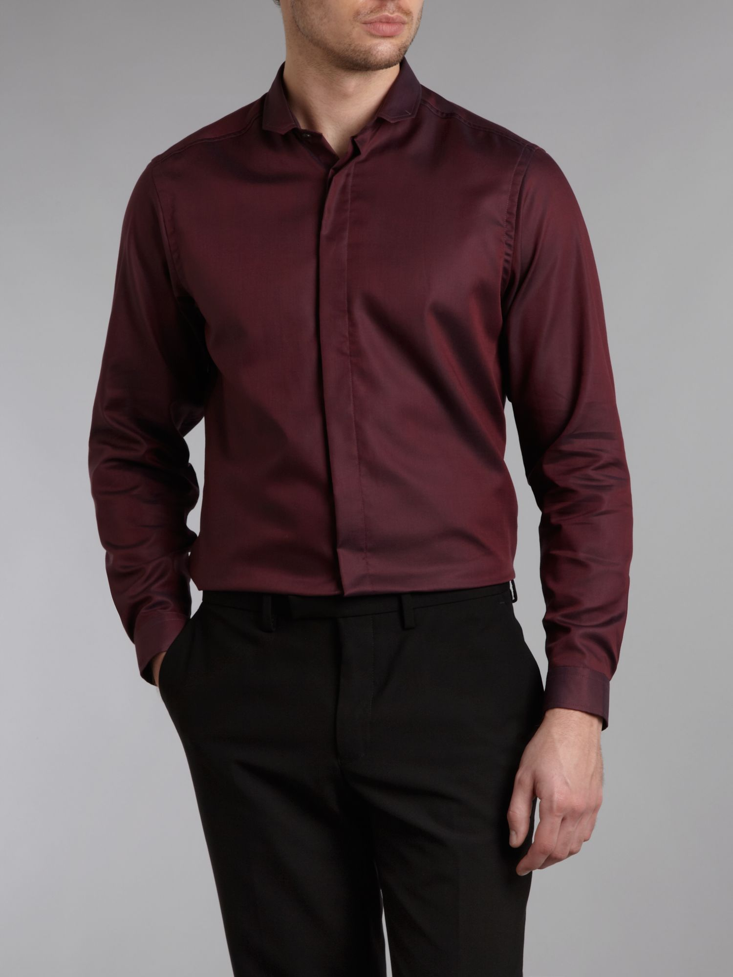 Long-sleeve fancy oxford formal shirt