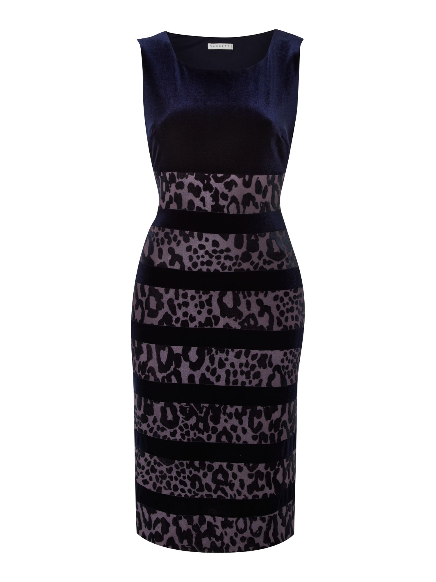 Devore animal print and velvet panel dress