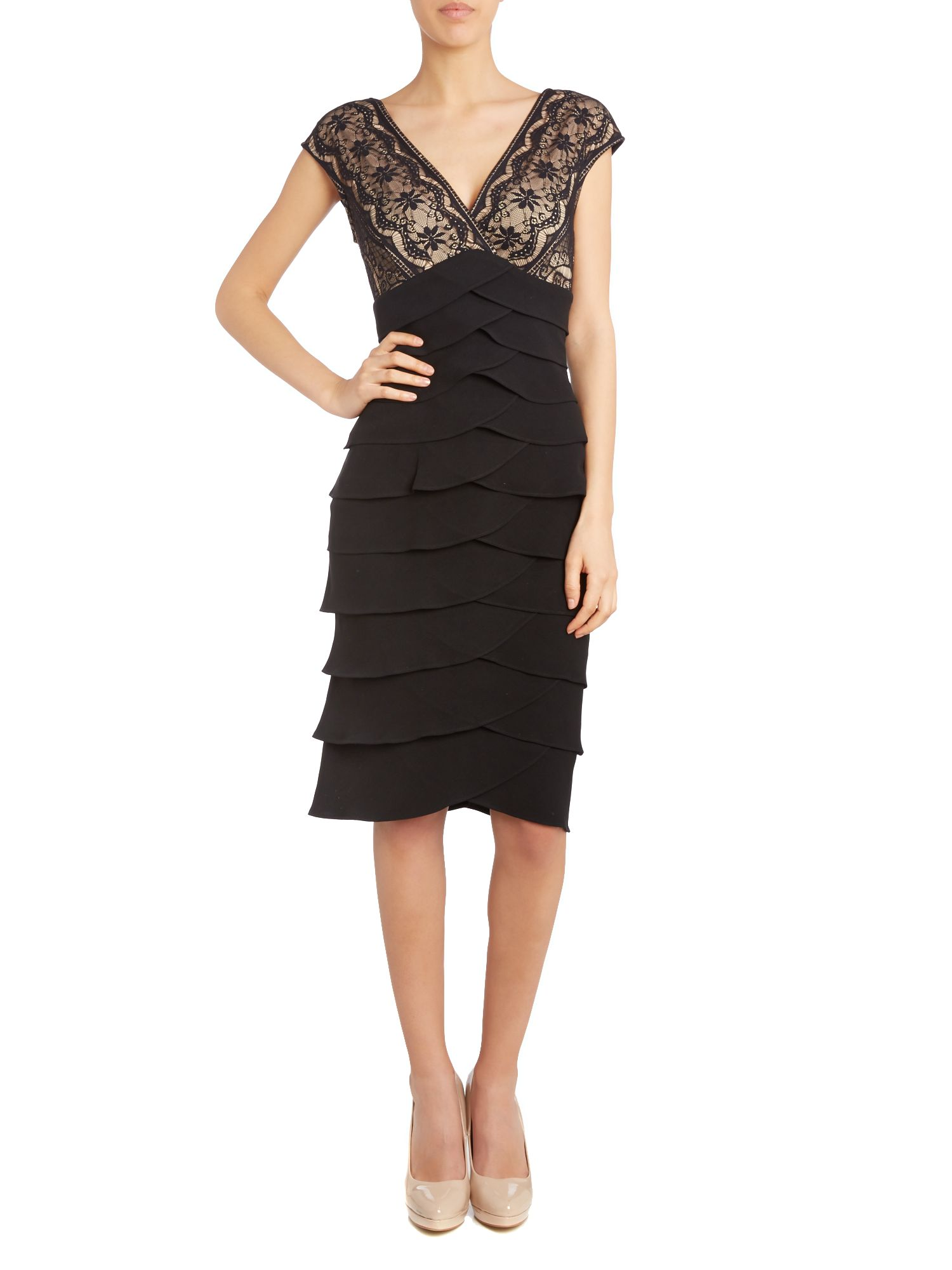 Tiered jersey dress with embroidered bodice